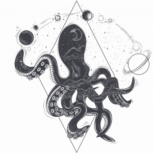 Ink Collection 50x50 Cosmic Octopus