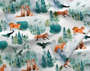 OUTLET Dzianina Zimowy Lis / Winter Fox Cotton 65x120cm