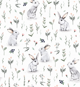 Outlet Dzianina Króliki  na łące / Meadow Bunnies  60x150cm