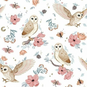 Dzianina dresowa Sowy i Kwiaty / Owls and Flowers