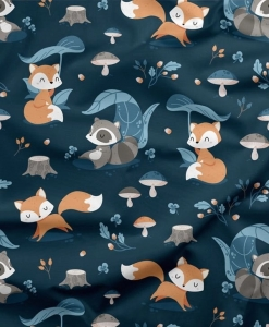 Bawełna Lis i Szop na granatowym / Fox and Raccoon on the navy blue