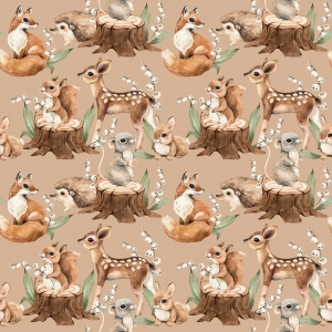 Poliester Wodoodporny Forest  Deer and Hedgehog  - Beige